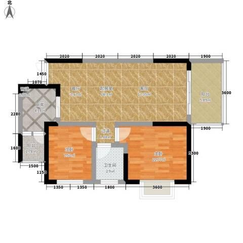 九鼎名都2室0厅1卫1厨64.00㎡户型图