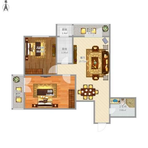 纪發公寓2室1厅1卫2厨86.00㎡户型图