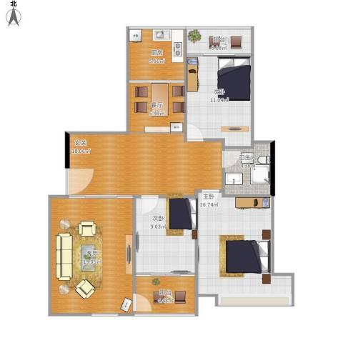 千玺广场3室2厅1卫1厨131.00㎡户型图