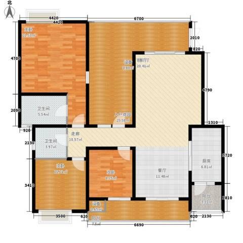 龙湖悠山庭院3室1厅2卫1厨136.61㎡户型图
