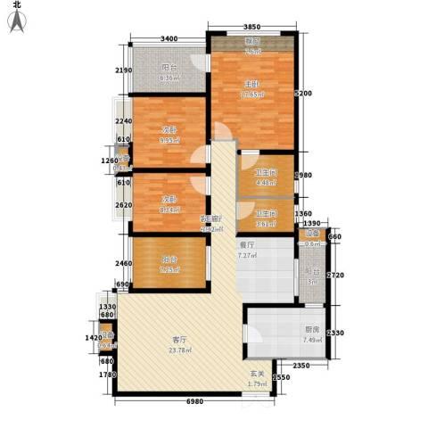 龙湖悠山庭院3室1厅2卫1厨109.97㎡户型图