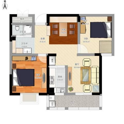 康恒悦麒美寓2室1厅1卫1厨96.00㎡户型图
