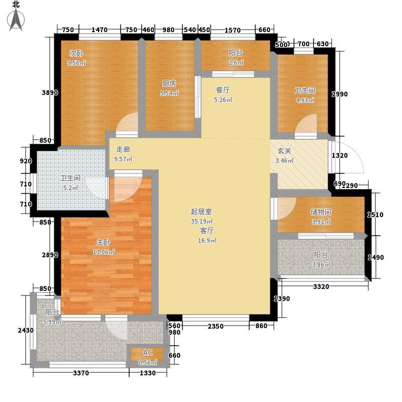 银盛泰星海城106.00㎡洋房四层A户型2室2厅