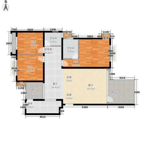 中天阳光美地3室0厅2卫1厨117.20㎡户型图