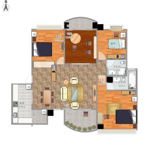 咸宁碧桂园4室1厅2卫1厨157.00㎡户型图