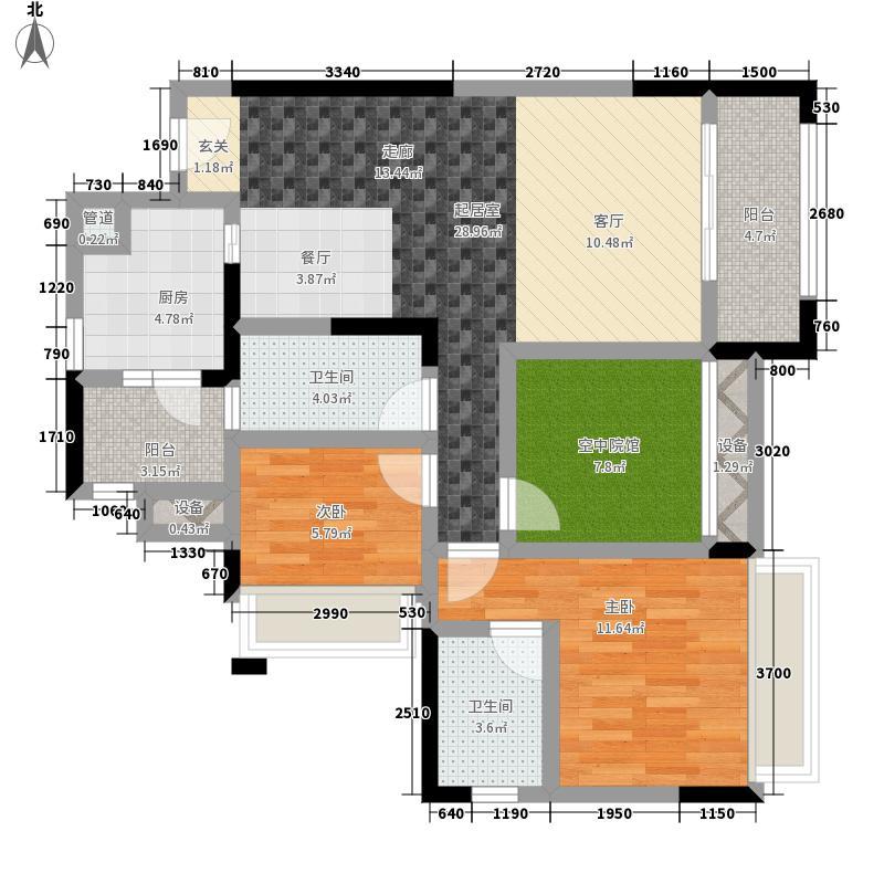 碧云龙庭汇景101.34㎡一期A-B号楼标准层7号户型