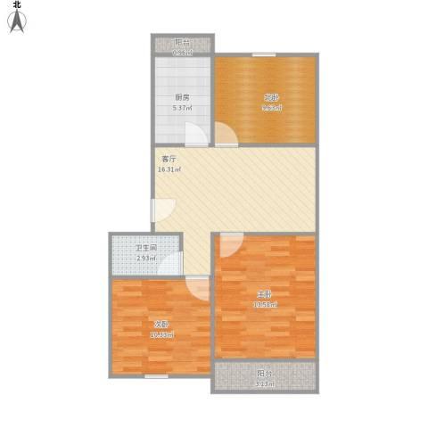 安裕新村2室1厅1卫1厨85.00㎡户型图
