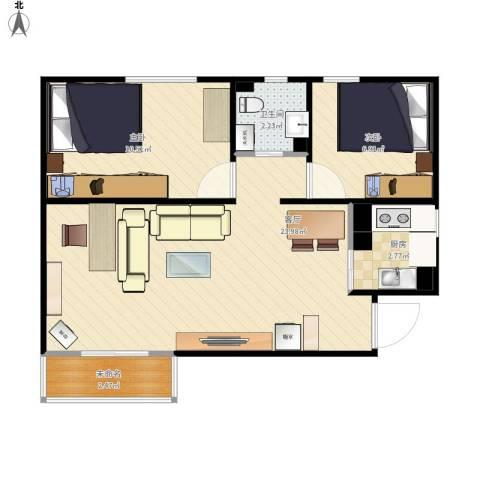 双龙小区2室1厅1卫1厨67.00㎡户型图