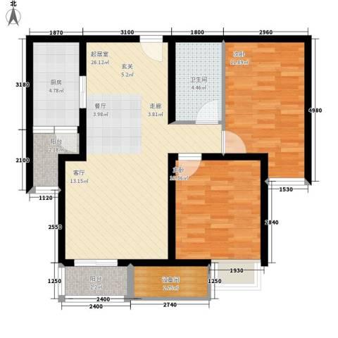双威悦馨苑2室0厅1卫1厨95.00㎡户型图