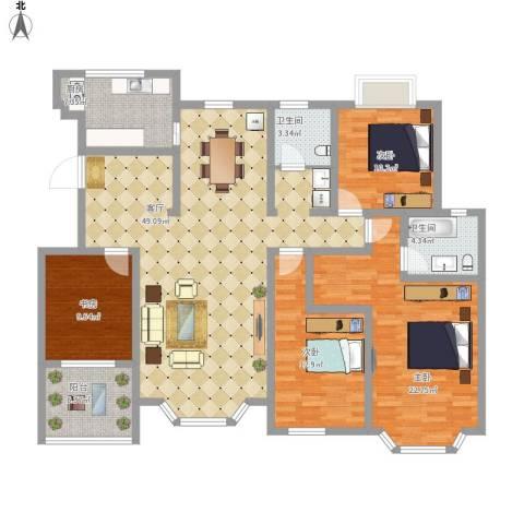 天房海滨园4室1厅2卫1厨181.00㎡户型图
