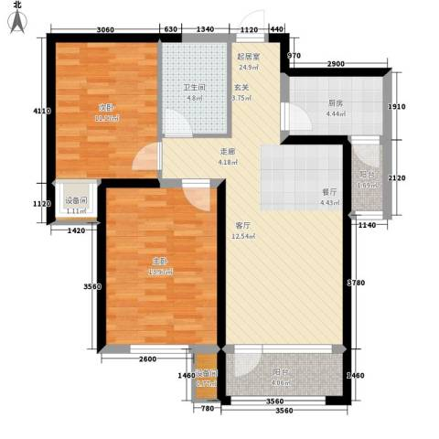 中铁诺德名苑2室0厅1卫1厨89.00㎡户型图