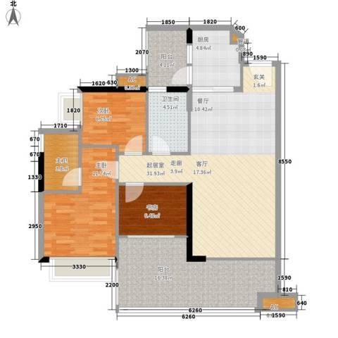 可逸家园3室0厅1卫1厨103.00㎡户型图