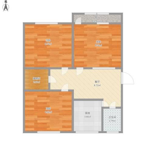 历城三中宿舍3室1厅1卫1厨60.00㎡户型图
