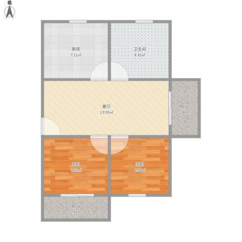 金龙花苑茶花园2室1厅1卫1厨64.00㎡户型图