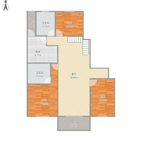 265738兰园公寓3室1厅2卫1厨131.00㎡户型图