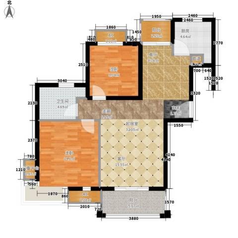保利金爵公寓2室0厅1卫1厨86.00㎡户型图