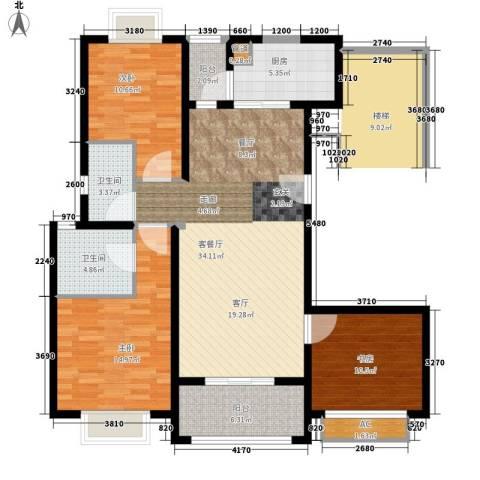 保利金爵公寓3室1厅2卫1厨108.00㎡户型图