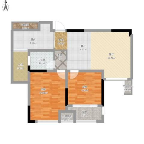 天淳江南2室1厅1卫1厨106.00㎡户型图