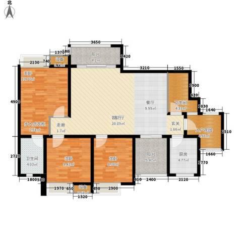 龙湖悠山庭院3室1厅2卫1厨96.00㎡户型图