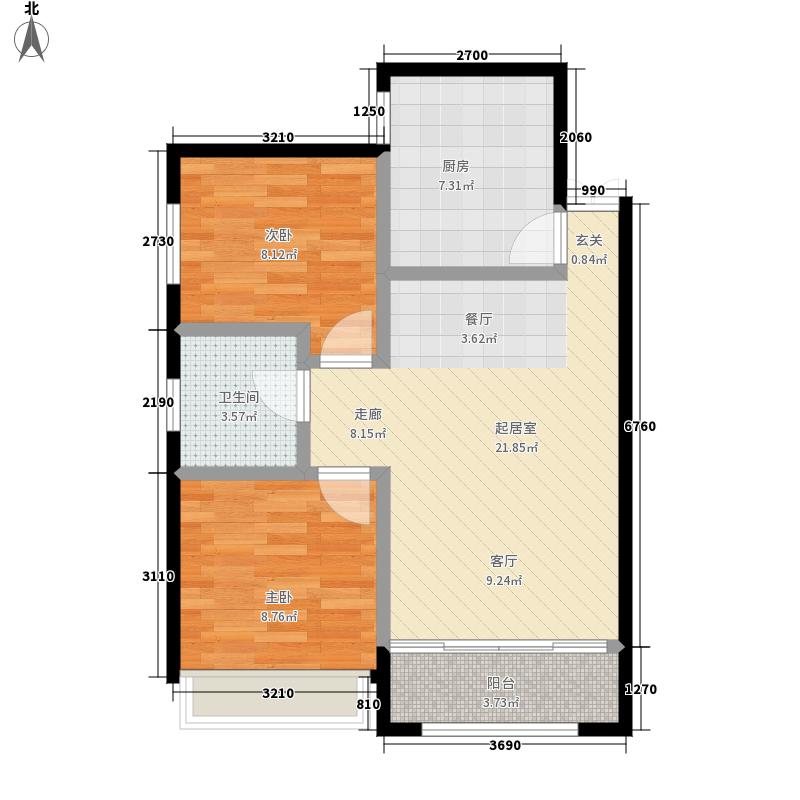 海天新界78.20㎡海天新界户型图2室2厅1卫(3/6张)户型10室