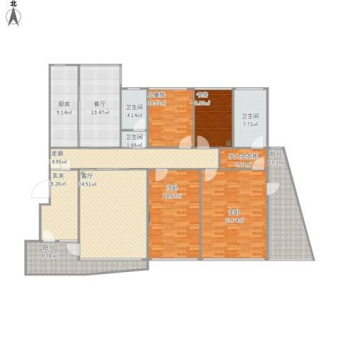 海富经典4室2厅3卫1厨232.00㎡户型图