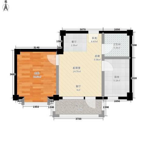 哈佛映像1室0厅1卫1厨44.00㎡户型图