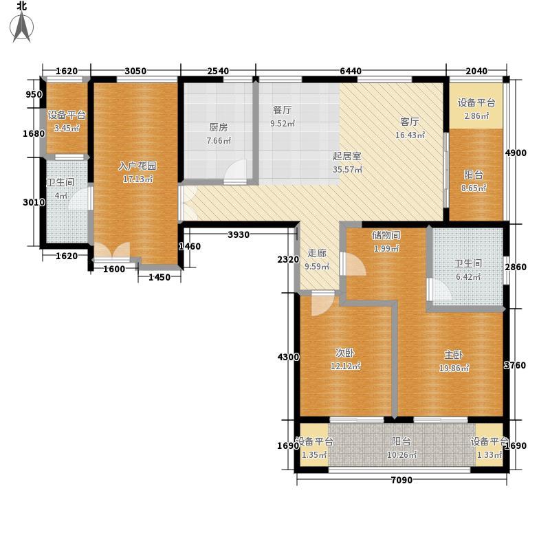 绿地西水东中央生活区141.00㎡B3户型2室2厅2卫
