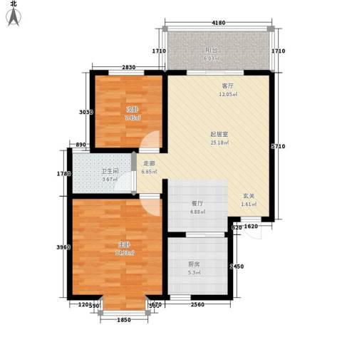 万华园上观苑2室0厅1卫1厨69.94㎡户型图