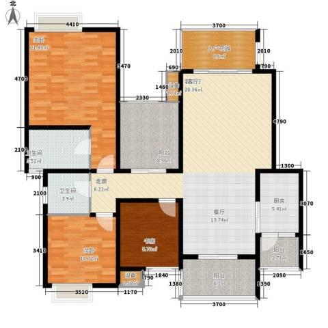 龙湖悠山庭院3室1厅2卫1厨121.88㎡户型图