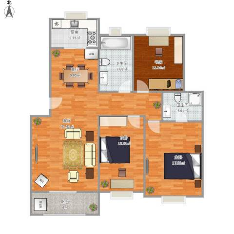 香林・丽景湾3室1厅2卫1厨145.00㎡户型图