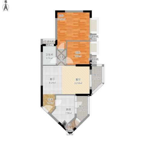 鼎盛时代广场2室1厅1卫1厨99.00㎡户型图