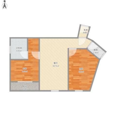 开城公寓2室1厅1卫1厨59.00㎡户型图