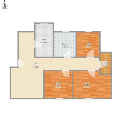 当代高邸3室1厅1卫1厨94.00㎡户型图