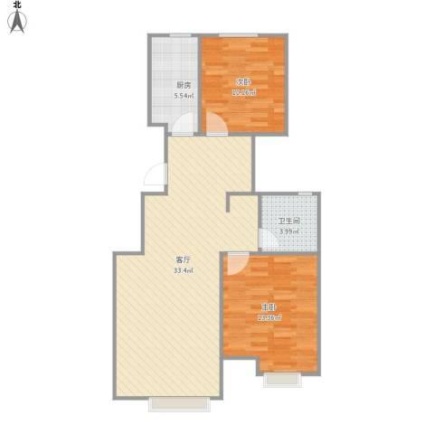 华菁水苑2室1厅1卫1厨89.00㎡户型图