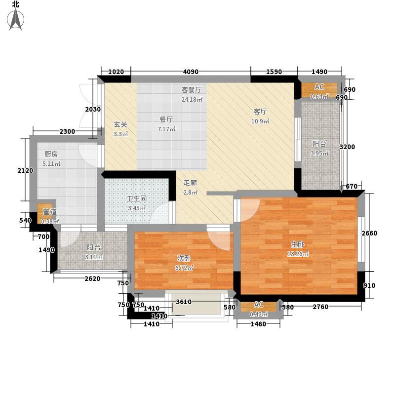 光华观府国际68.87㎡二期9号楼标准层3号房户型