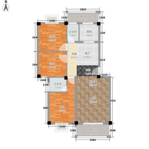 顺景蔷薇山庄4期3室0厅2卫1厨119.00㎡户型图
