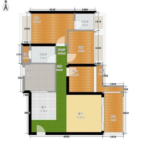 花样年别样城2室1厅2卫1厨88.00㎡户型图