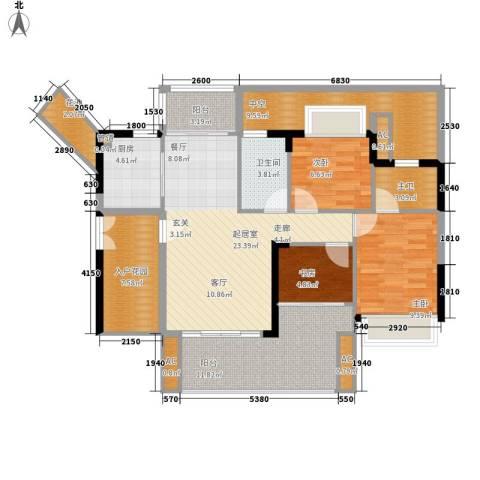 可逸家园3室0厅1卫1厨107.00㎡户型图