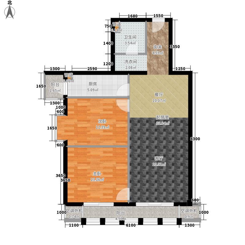 清城时代广场104.08㎡A座标准层-C户型二室二厅户型