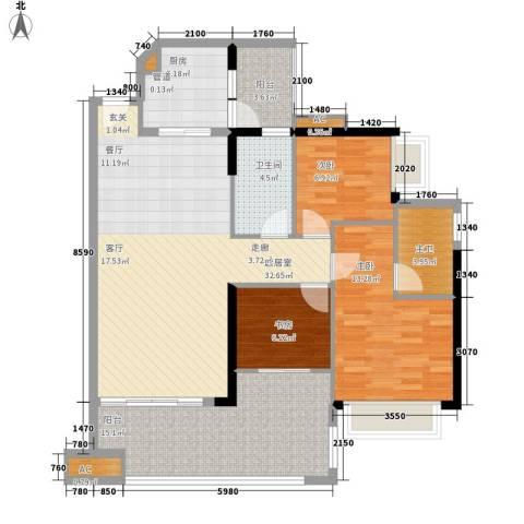 可逸家园3室0厅1卫1厨105.00㎡户型图