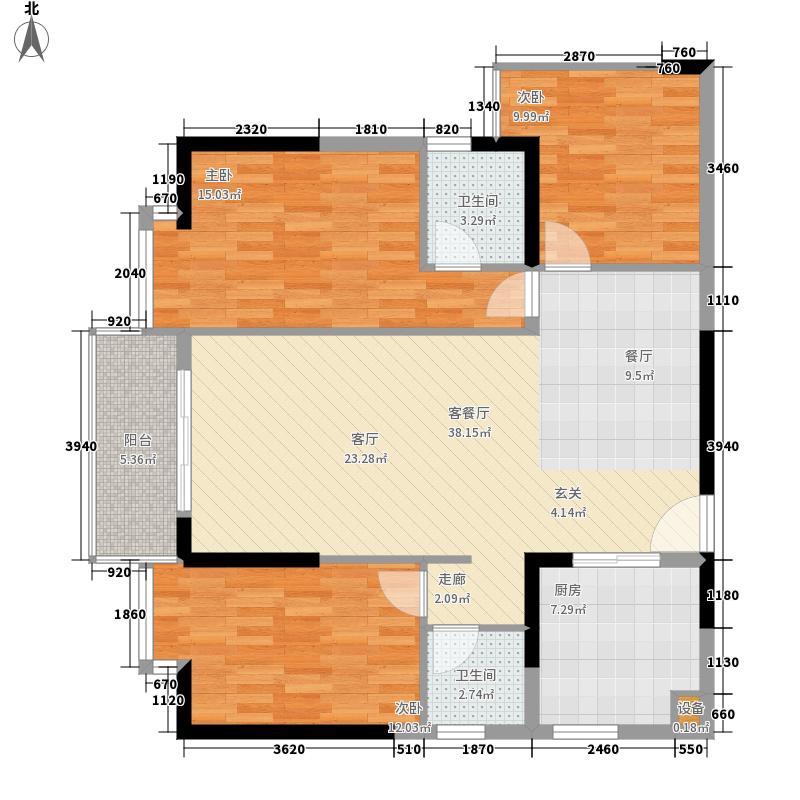 德润朗悦湾122.25㎡户型3室2厅