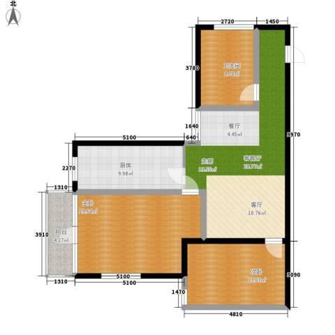 翰林雅居2室1厅1卫1厨108.00㎡户型图