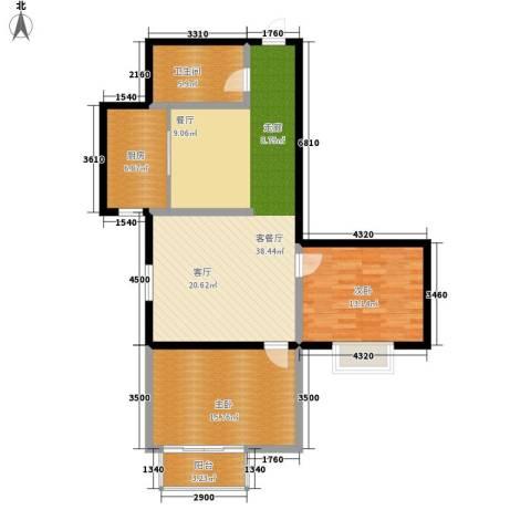 翰林雅居2室1厅1卫1厨94.00㎡户型图