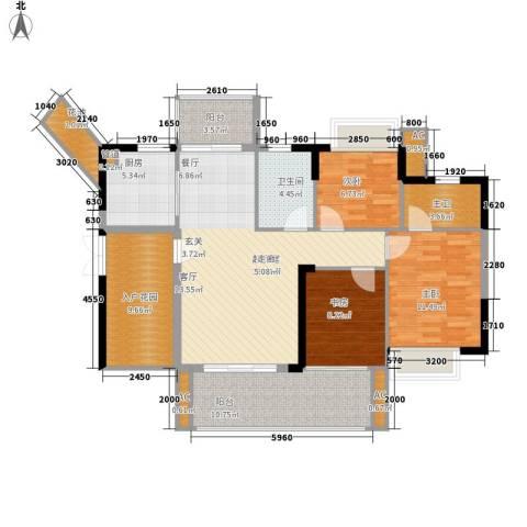可逸家园3室0厅1卫1厨108.00㎡户型图