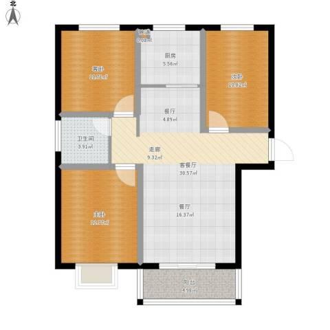 玉泉华庭3室1厅1卫1厨114.00㎡户型图
