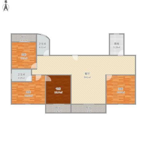 瑞金南苑4室1厅2卫1厨182.00㎡户型图