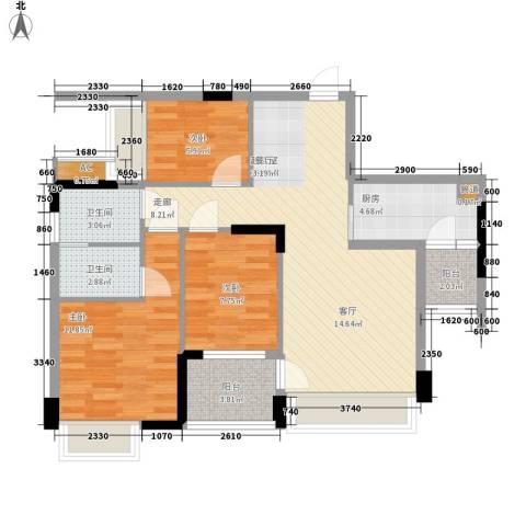 大翼龙苑3室0厅2卫1厨89.00㎡户型图