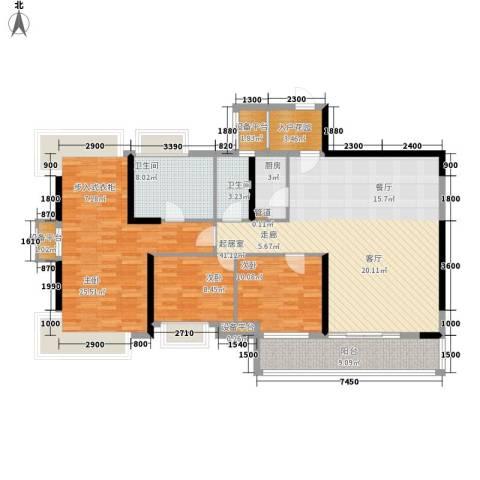 锦绣国际花城3室0厅2卫1厨131.00㎡户型图