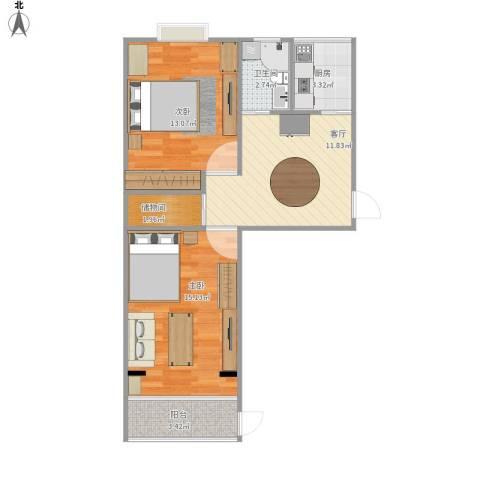 东三亲家坟2室1厅1卫1厨70.00㎡户型图