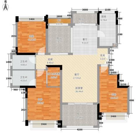 华发・蔚蓝堡3室0厅2卫1厨143.00㎡户型图